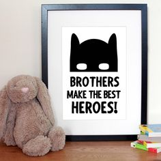 "BEST HEROES // Our ""Brother & Sister's make the best Heroes"" prints will be live to order on launch day in just over a week! Can't wait to pair this with our DIY Super Banner for some new product photos later this week. #superheroprint #super #superhero #superherodecor #batman #batmandecor #batmask #batmaskprint #brotherprint #sisterprint #brotherhero #sisterhero #girlsuperhero #kidsdecor #kidsinteriors #kidsstyle #ministyle #blueberrybookids"