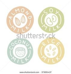 Almond, soy, coconut, rice milk labels. Vector hand drawn illustration - stock vector