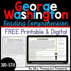 Help your students become more confident readers with this fun and free interactive reading comprehension passage about George Washington in printable and digital (for Google Slides™) formats. Great for President's Day or Washington's birthday. 3rd-5th grade reading skills.