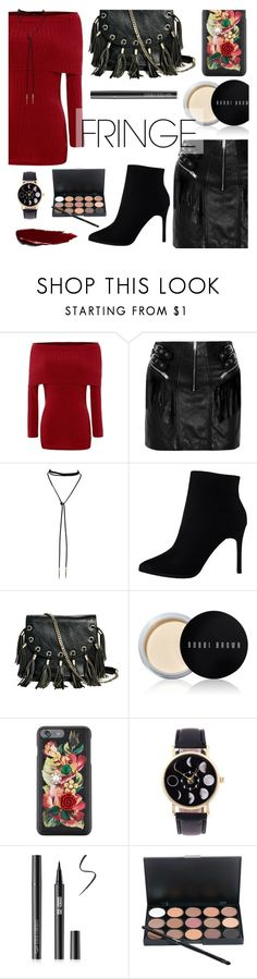 """Shimmy Shimmy: Fringe"" by dora04 ❤ liked on Polyvore featuring Yves Saint Laurent, GUESS by Marciano, Bobbi Brown Cosmetics and Dolce&Gabbana"