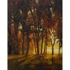 """River Edge Glow by Jan Schmuckal Oil ~ 14"""" unframed 22"""" framed x 11"""" unframed 19"""" framed"""
