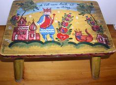 Vintage Peter Hunt Nancy Whorf Signed Cat Folk Art Primitive Painted Wood Stool #NaivePrimitive