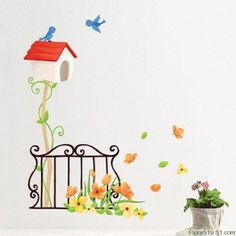 wall decals bird house | Use Artistic Wall Stickers To Embellish your Home