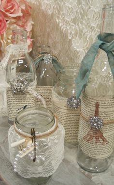 Vintage Table Decorations - Jam jars with paper wrapped round and finished with a tie and brooch