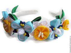 Купить Ободок-венок Весенние цветы Ирисы, нарциссы. Ободок-канзаши. - синий жёлтый