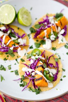 Grilled Sweet Potato Tacos with Lime Crema  (GF + VEGAN)