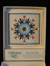 Celebration of American Quilts Ceramic Tile ~ BLUE LONE STAR VARIATION ~ IOB