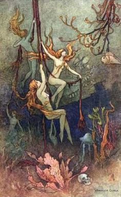 """venusmilk: """"The book of fairy poetry, 1920 Illustrations by Warwick Goble """"Sea-nymphs hourly ring his knell: Hark! now I hear them,—ding-gong, bell. Art And Illustration, Mermaid Illustration, Book Illustrations, Vintage Mermaid, Mermaid Art, Fantasy Kunst, Fantasy Art, Fantasy Books, Warwick Goble"""