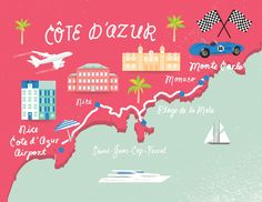 Cote D'Azur map, shannon may // illustration