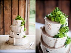 wedding cake with birch bark design and couple's initials engraving, floral cake topper and accent, rustic campground wedding, Alexandra Whitney Photography, Danielle Pasternak Wedding Coordinator, Cake by @Julie Manwarren