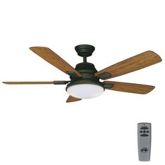 $156. Hampton Bay Latham 52 in. LED Indoor Oil Rubbed Bronze Ceiling Fan with Light Kit and Remote Control-51353 - The Home Depot
