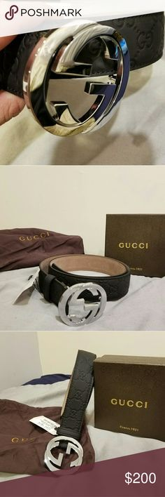 🔥😍 New Gucci Signature Black Leather Belt Hot New Gucci Signature Black Leather Belt. I work in fashion and I bought this for someone but unfortunately it doesn't fit. I use my employee discount to cop designer pieces.  Please follow the size chart above. Authentic and unisex. Comes with belt, box, and tags. Gucci Accessories Belts