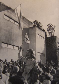 The Tel Aviv Museum on Rothschild Street on the day of the Declaration of Independence of Israel, 5 Iyar 5708 / 14 May 1948