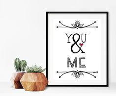 Home decor - print art - wall art - print - You and me - ampersand - typographic print - black and white art print by madeinhappy on Etsy Frame Wall Decor, Wall Art Designs, White Art, Canvas Frame, Printable Wall Art, Diy Design, Vinyl Decals, Framed Art, Diy Ideas