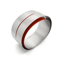 www.ORRO.co.uk - Claudia Hoppe – Large 1 Stripe Steel Hidden Treasure Bracelet - ORRO Contemporary Jewellery Glasgow...