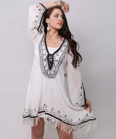 The White Lace-Up Handkerchief Dress on #zulily is absolutely adorable and would make a great addition to any closet!
