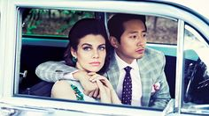 Lauren Cohan and Steven Yeun - Love how this photo shoot is the polar opposite of the zombie apocalypse