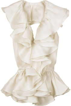 Celebrities who wear, use, or own Bill Blass Flamenco Backless Blouse. Also discover the movies, TV shows, and events associated with Bill Blass Flamenco Backless Blouse. Backless Halter Top, Backless Shirt, Frilly Shirt, Traje Casual, Quoi Porter, Bill Blass, Corsage, Passion For Fashion, Dress To Impress