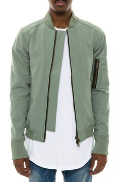 Civil Jacket Rip Stop Double Zip Bomber Olive Green - Karmaloop.com
