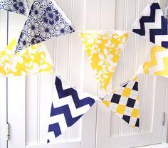 21 Flag Fabric Bunting, 9 Feet Party Banner, Navy Blue, Yellow Chevron Stripes, Argyle, Flowers, Leaves, Summer Wedding Decor, Baby Nursery