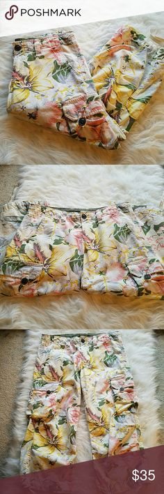 """LUCKY Brand Floral Cargo Crop Pants Floral Cargo Crop Pants with Drawstring detail at cuffs and drawstring waist; Zip button closure with front and back pockets; Buttoned cargo pockets on legs; 100 cotton; 22"""" inseam  EXCELLENT CONDITION! Lucky Brand Pants Capris"""