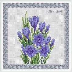 Bouquet of blue Crocuses in grey textured frame от HallStitch