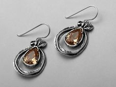 Shablool Didae Israel Unique Silver Earrings With Facet Champagne CZ Champagne Stone