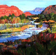 Brilliant Utah landscape oil painting by Erin Hanson