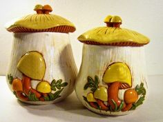 vintage canisters - mushrooms - ceramic - hand painted - set of 2 - 1970s
