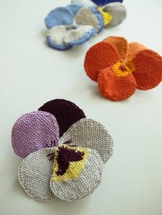 by hipota little fabric and embroidery pansies , nice brooch , 3d applique or gift decoration