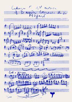 Yehudi Menuhin: Kadenzen zu Mozarts Violinkonzert in D-Dur Nr. 2 KV 211, 2. Satz; geschrieben in Alma, 1955.
