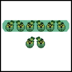 Tipsy St. Patrick's Day Owls Bracelet & Earrings | Bead-Patterns