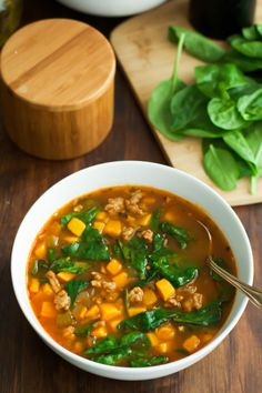 Spinach Sweet Potato Soup: Why not add some greens to your favorite soup recipes?! Click through to find more easy and healthy sweet potato soup recipes to try this fall.