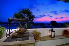 Sunset view from our restaurant! Boutiques, Resorts, Restaurant, Beach Hotels, Greece, Patio, Island, Sunset, Architecture