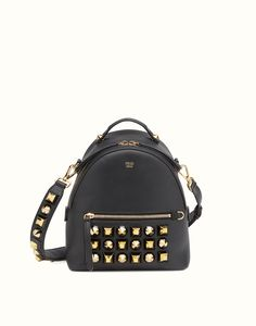 d6aed41bd265 FENDI GOLD EDITION MINI BACKPACK - in black leather with studs Fendi  Backpack
