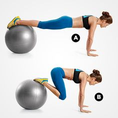 Roll your way to flat abs with this Swiss ball move.