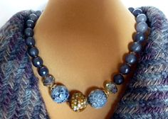 Chunky blue faceted agate necklace by anabelbijou on Etsy