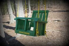 Childs John Deere solid wood painted   swing (John Deere Green)