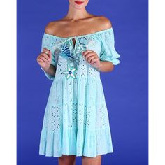 blank Ibiza Fashion, Cotton Lace, Design Crafts, Dress Brands, One Size Fits All, Ibiza Style, Positano Italy, Turquoise, Number
