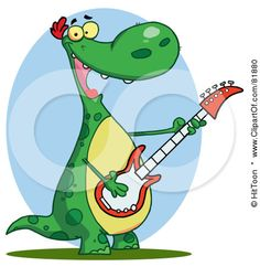 Guitarist dinosaur by Hit Toon