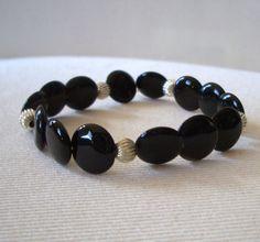 Stretch Black Onyx Bracelet - Reiki Charged, Black Onyx Bracelet, Black Stone Bracelet, Black Gemstone Bracelet, Stretch Bracelet #etsy #handcraftedjewelry