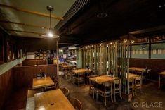 빈티지 술집 인테리어, 목공사, 대나무, 빈티지 가구 조명, 에폭시, 식당 디자인