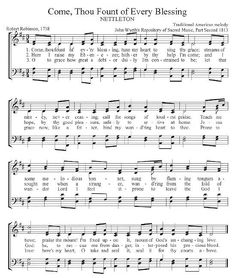 COME, THOU FOUNT OF EVERY BLESSING -- Note: Great site for hymns - you can listen online and sing along. Also includes a devotional, hymn story and scriptural references for each one. Hymns Of Praise, Praise Songs, Worship Songs, Gospel Music, Music Lyrics, Music Songs, Church Songs, Church Music, Come Thou Fount