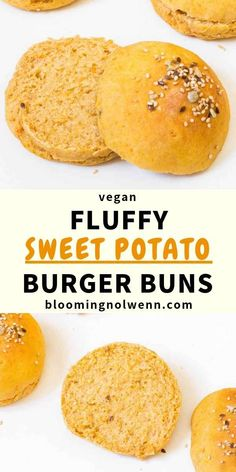 Easy, fluffy and delicious Sweet Potato Burger Buns for vegan burgers! These vegan buns are soft, healthy and perfect for a burger party or a picnic! Vegan Sweet Potato Burger, Sweet Potato Recipes Healthy, Sweet Potato Buns, Mashed Sweet Potatoes, Homemade Vegan Burgers, Homemade Buns, Homemade Sweets, Falafels, Potato Bun Recipe