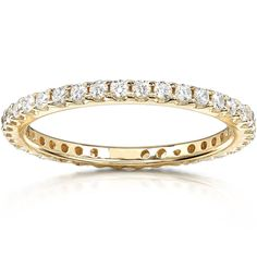 Round Diamond Eternity Band 1/2 carat (ctw) in 14K Yellow Gold >>> Want additional info? Click on the image. (This is an affiliate link) #WeddingandEngagement