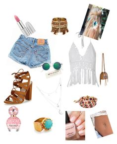 """""""Coachella"""" by wevie ❤ liked on Polyvore featuring Levi's, Lipsy, Me to We, Accessorize, Ottoman Hands, H&M, Charlotte Russe, TheBalm and Marc Jacobs"""