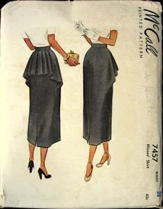 """McCall No. 7457 Skirt with Bustle Vintage Sewing Pattern c 1949. 4 pc pattern with back pleated bustle attached at waistband over slim skirt."" clever cutting."