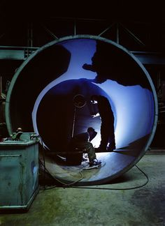 Electric Arc Cutting Inside a Boiler, T Ward, 1958 by Maurice Broomfield