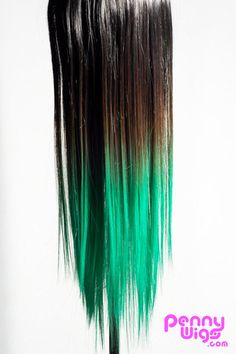 Ombré Teal Dip Dyed 7pcs Straight Clip-In Hair Extensions