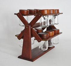 12 Jar Vtg Mid Century Danish Modern Teak Wood Spice Rack Denmark Digsmed Dansk